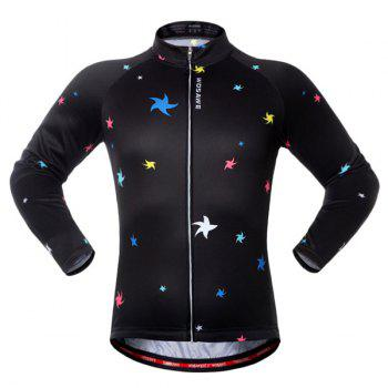Sport Breathable Stars Long Sleeve Cycling Jersey - BLACK AND GREEN BLACK/GREEN