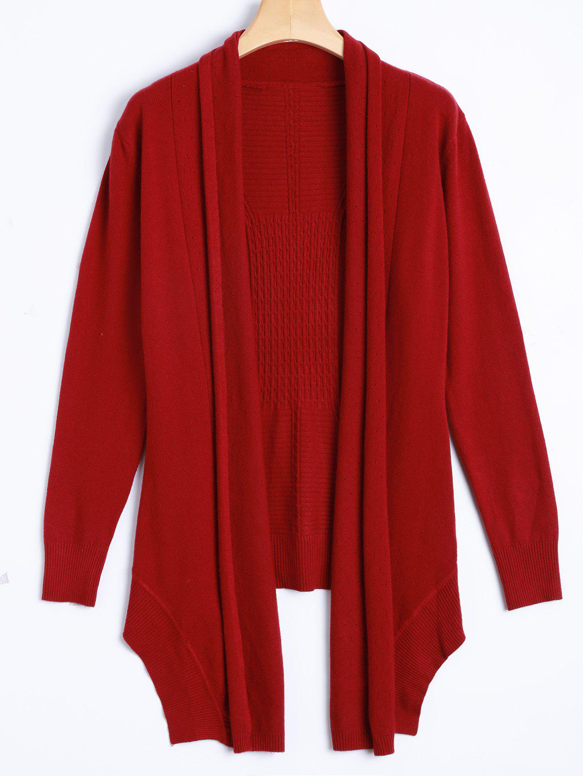 2017 Asymmetric Hem Knit Cardigan RED ONE SIZE In Sweaters ...