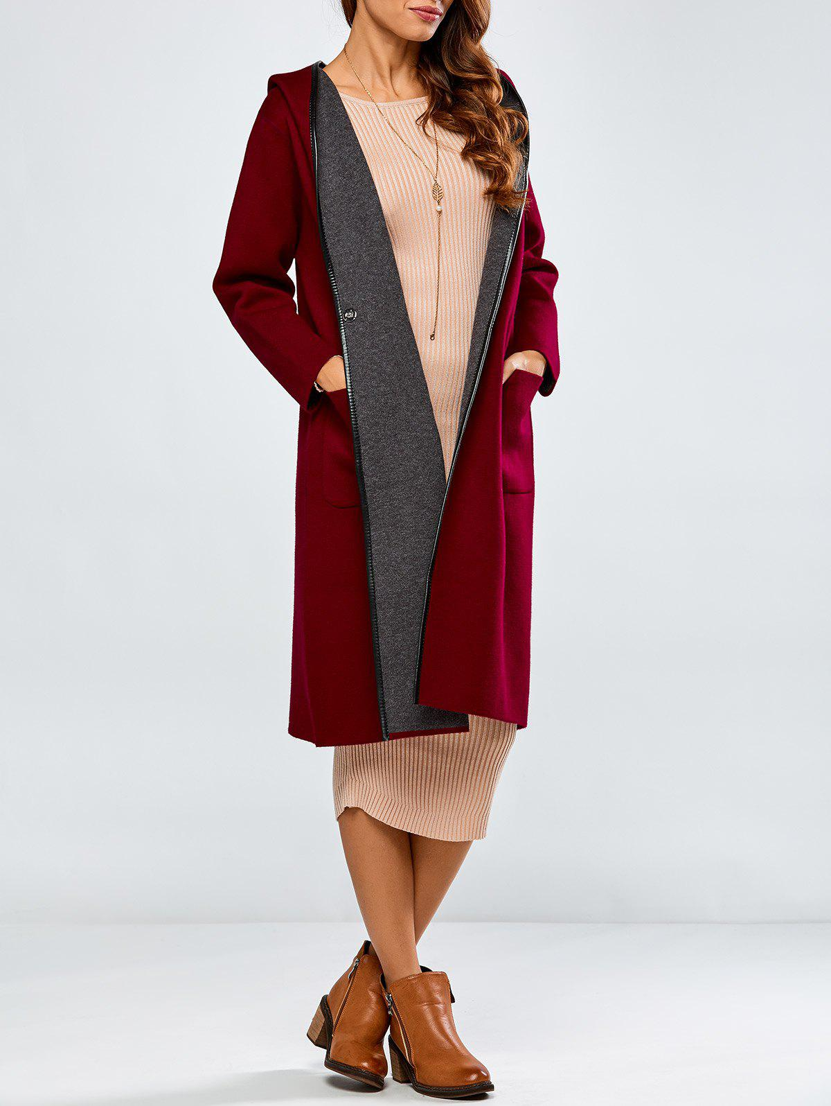 Covered Edge Reversible Hooded CardiganWomen<br><br><br>Size: ONE SIZE<br>Color: WINE RED