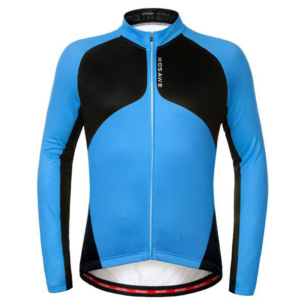 Sport Breathable Fleece Long Sleeve Cycling Jersey - BLUE L