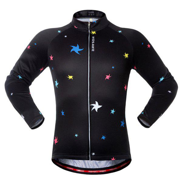 Sport Breathable Stars Long Sleeve Cycling Jersey - BLACK/GREEN M