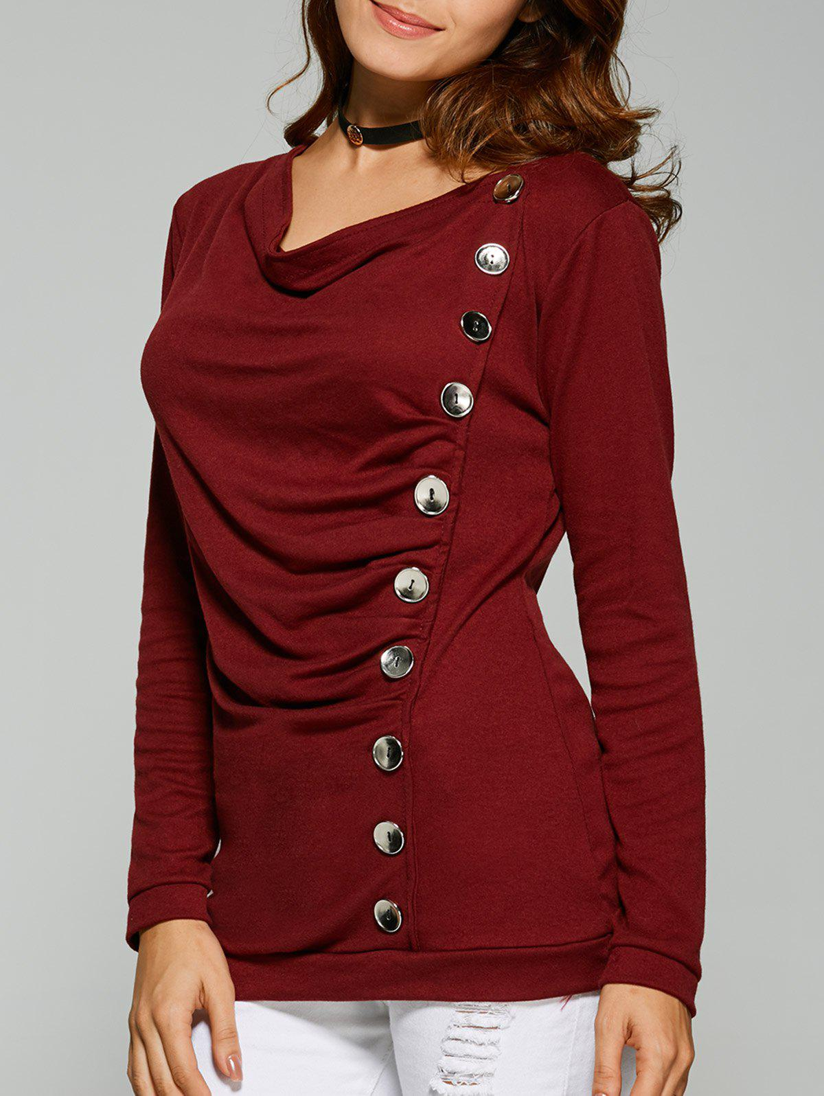 Ruched Button T-Shirt - WINE RED S