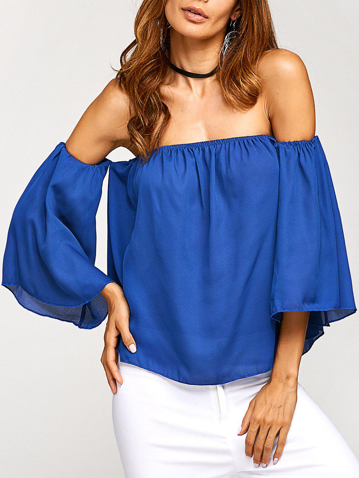 Off The Shoulder Backless Chiffon Blouse - BLUE S