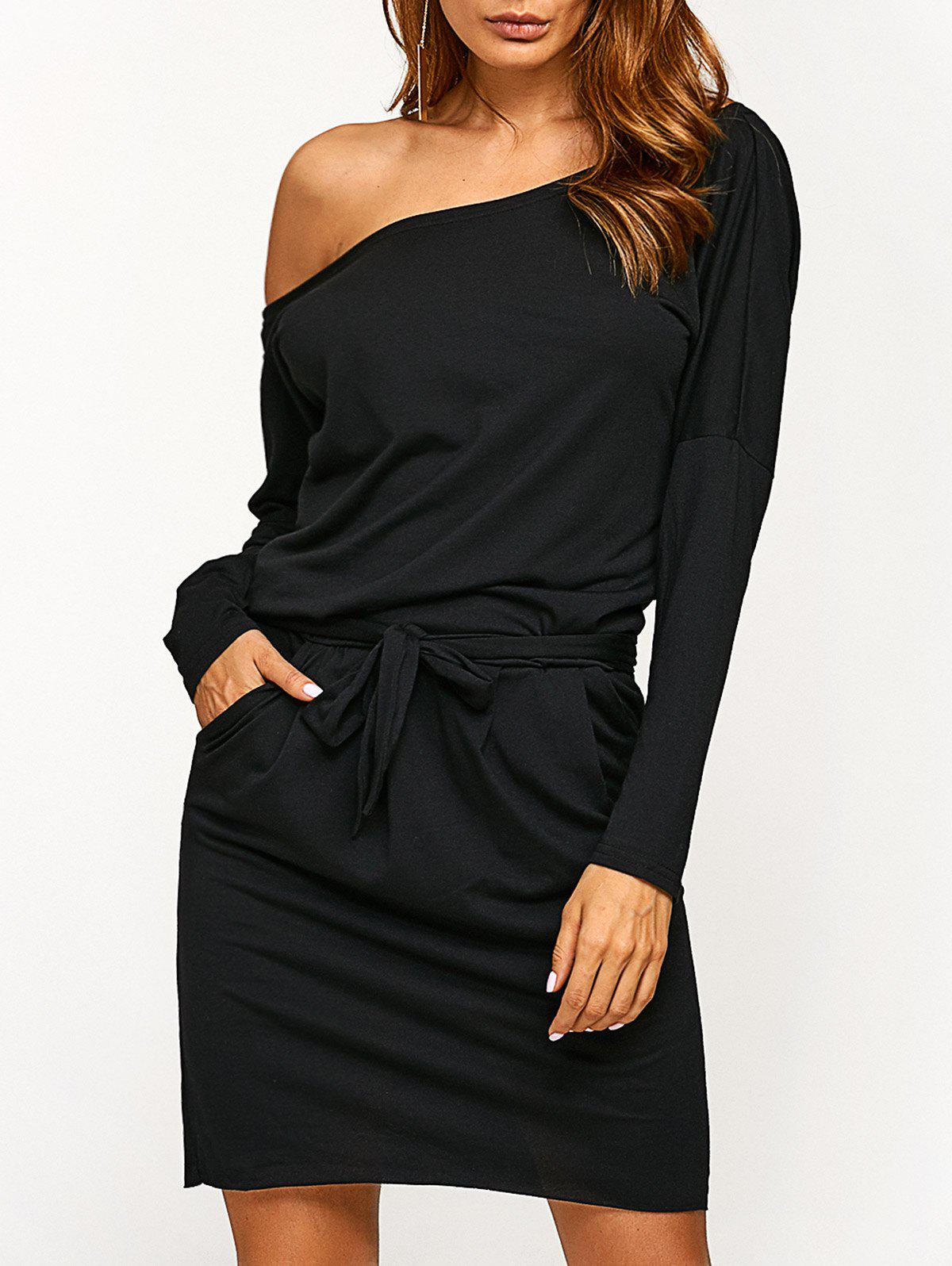 Long Sleeve Blouson Backless Dress - BLACK M