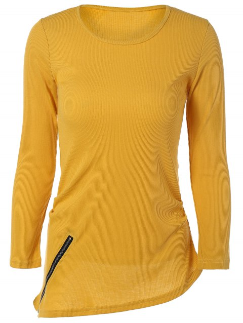 Asymmetric Knitted T-Shirt With Zipper - DEEP YELLOW XL