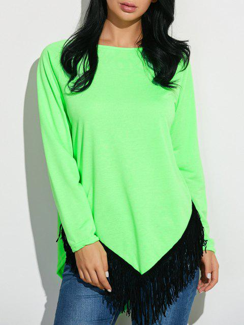 Tassel Inverted Triangle Hem Tunic T-Shirt - NEON GREEN L