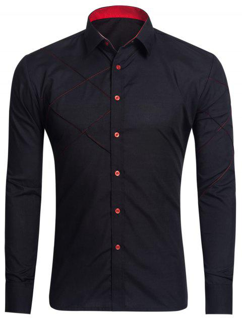 Stitch Long Sleeve Button Up Shirt - BLACK L