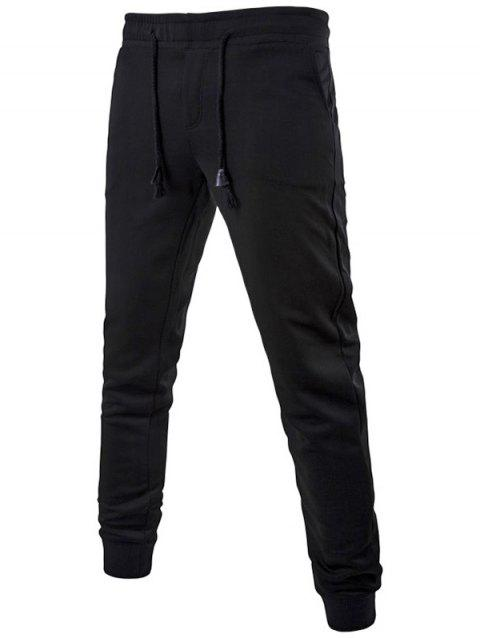 Active Drawstring Waist Cuffed Sweatpants - BLACK 4XL