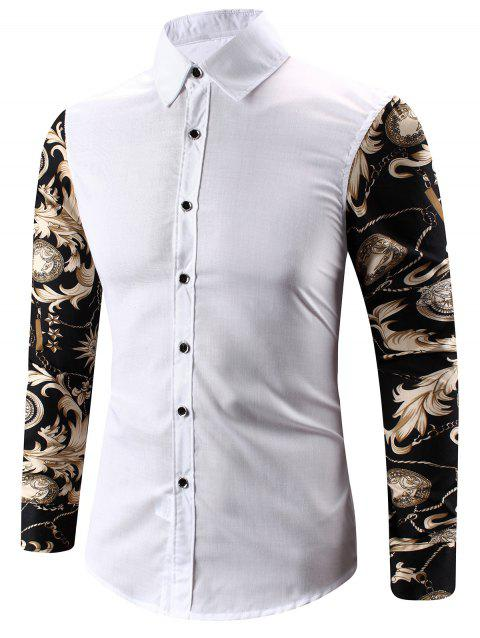 3D Abstract Floral Impression Épissage Tour-Vers Le Bas Collier Chemise - Blanc 3XL
