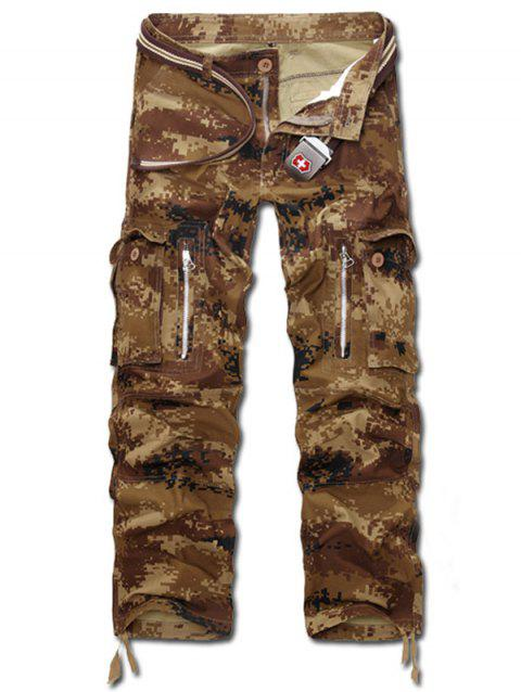 Zippered Camo Multi Pockets Cargo Pants - EARTHY 29