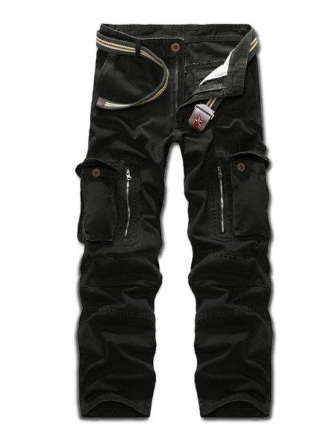 Zippered Multi Pockets Cargo Pants - BLACK 38
