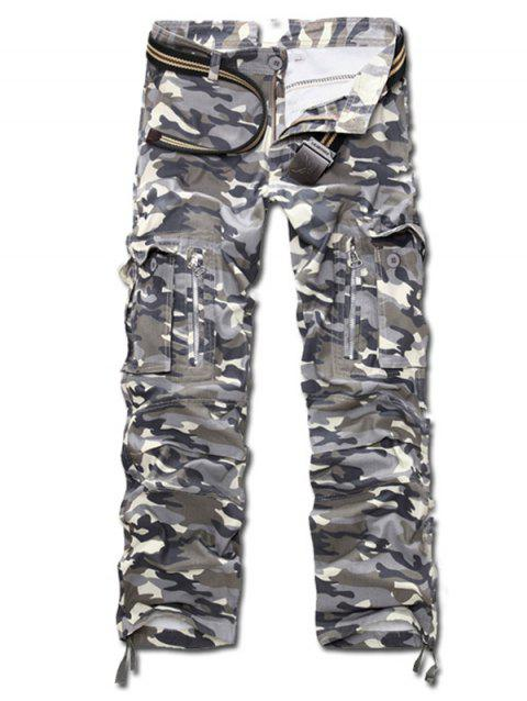 Multi Pockets Zippered Camo Cargo Pants - GRAY 30