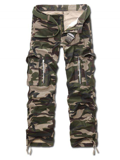 Multi Pockets Zippered Camo Cargo Pants - ARMY GREEN CAMOUFLAGE 33