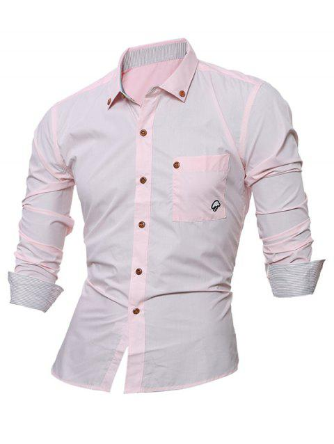 Long Sleeve Embroidered Button Down Shirt - PINK 3XL