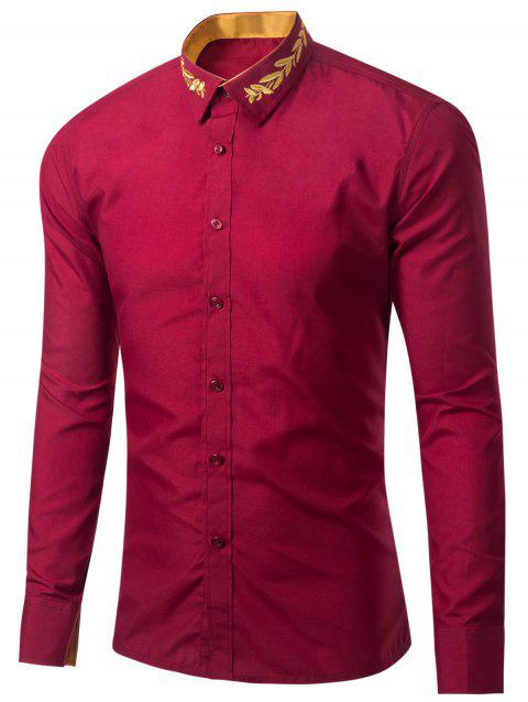 Leaf Embroidered Long Sleeve Shirt - WINE RED L