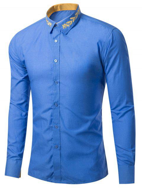 Leaf Embroidered Long Sleeve Shirt - BLUE S