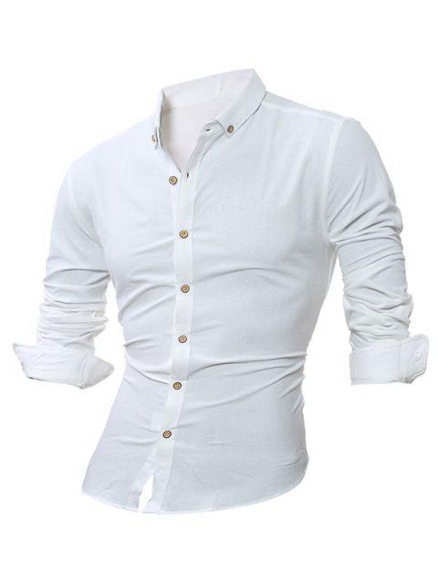 Plain Long Sleeve Button Down Shirt - WHITE 4XL