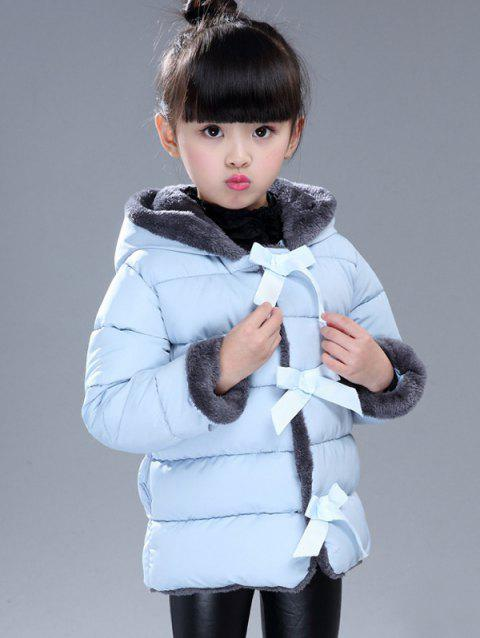 Hood with Hairball Bow-Front Puffer Coat - LIGHT BLUE 100