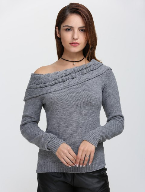 Skew Neck Long Sleeve Pullover Knit Sweater - GRAY L