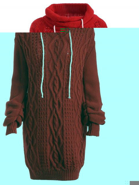Manches Longues Robe Pull Câble Col Roulé - Rouge XL