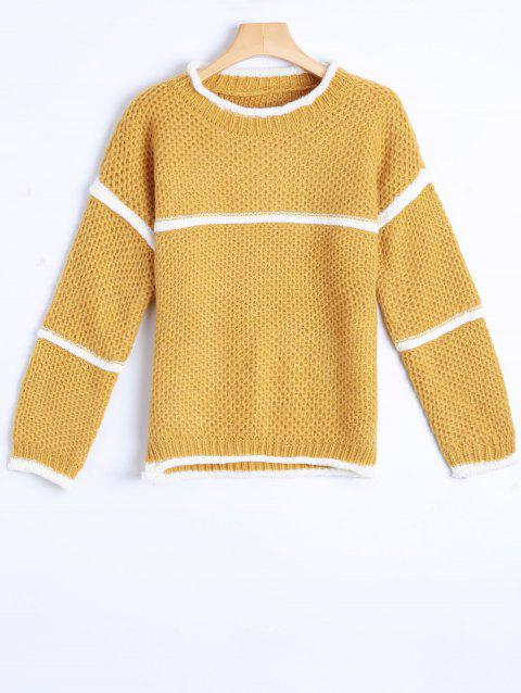 College Stripy Insérer Crochet Sweater - Orange Jaune ONE SIZE