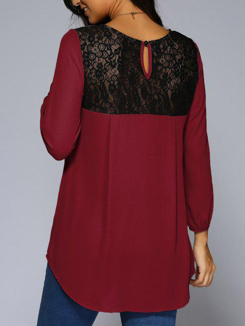 Lace Patchwork High Low Hem Chiffon Blouse - WINE RED L