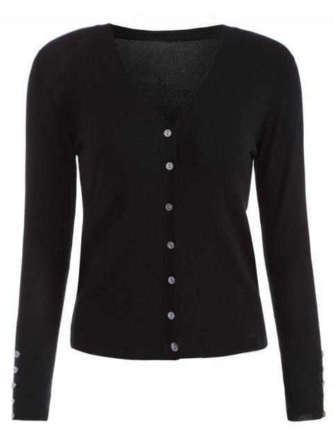 Buttons Embellished Cardigan - BLACK ONE SIZE
