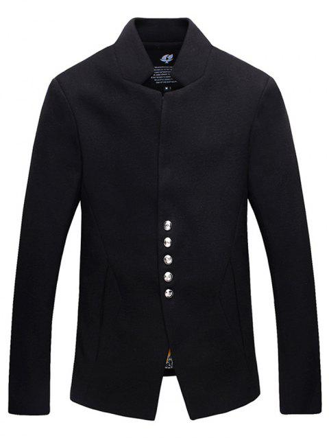 Single-Breasted Stand Collar Woolen Jacket - BLACK L
