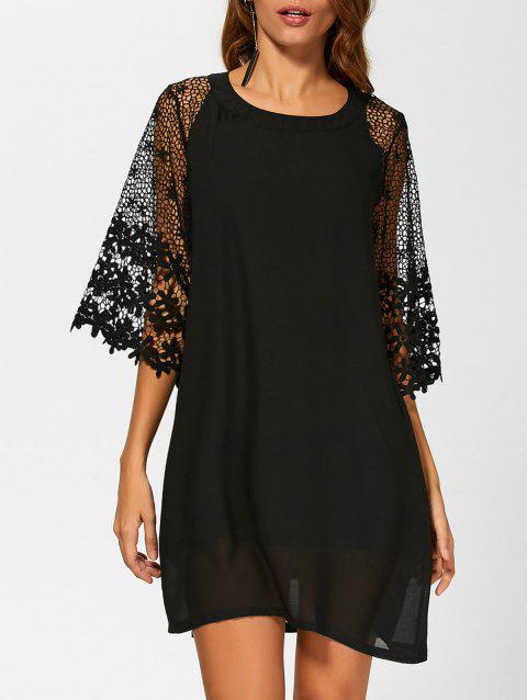 Crochet Lace Casual Loose Chiffon Dress - BLACK L