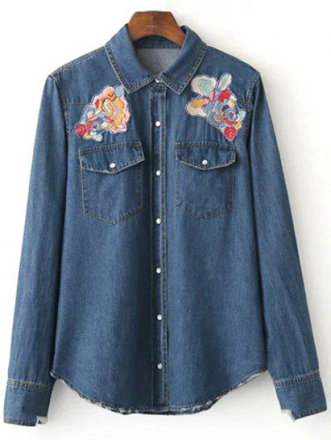 Patched Cowboy Denim Long Sleeve Shirt With Pockets - DEEP BLUE M