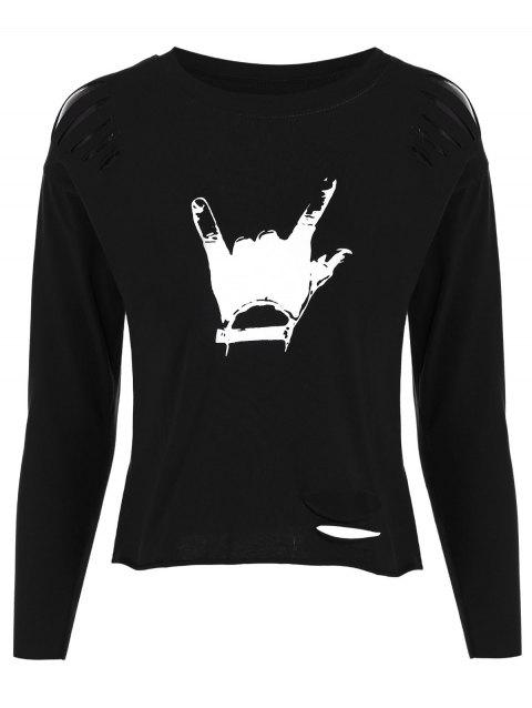 Hand Gesture Ripped Tee - BLACK ONE SIZE