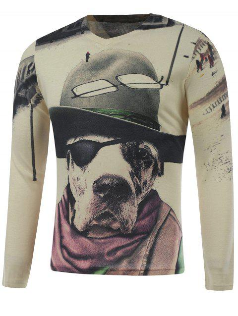 Long Sleeve Dog in the Hat Print Plus Size T-Shirt - COLORMIX M