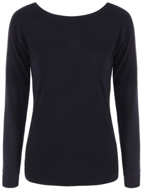 Long Sleeve Open Back T-Shirt - BLACK S