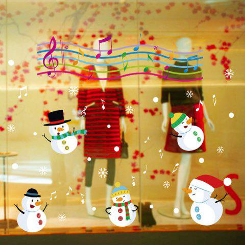 Christmas Music Snowmen Glass Window Removable Wall Stickers - COLORFUL