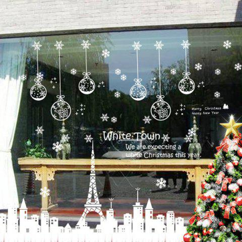 Christmas Town Glass Window Removable Wall Stickers - WHITE