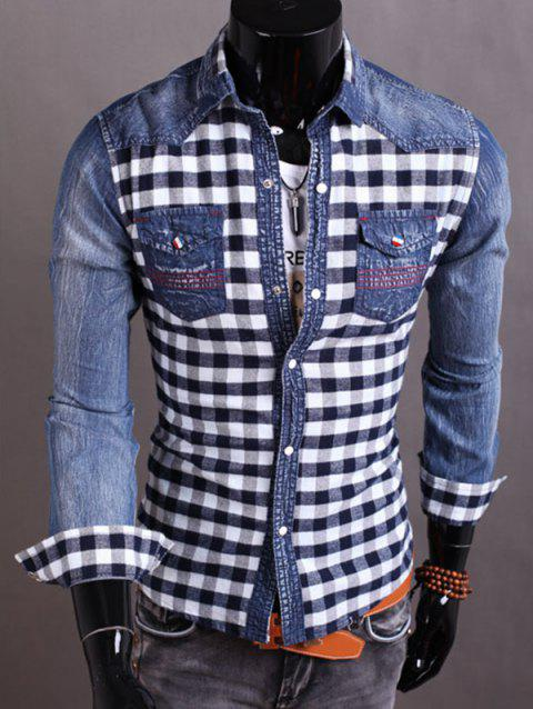 Plaid Insert Snap Button Up Denim Shirt - CADETBLUE M