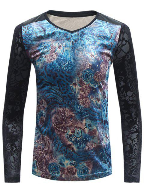 Floral Jacquard V Neck T-Shirt - BLACK 4XL