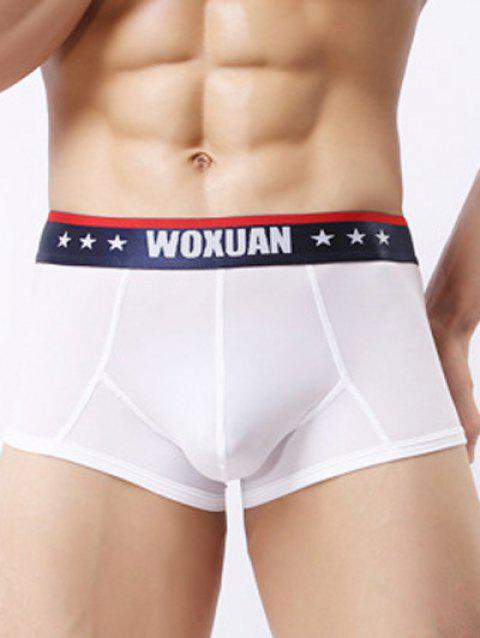 Stars Edging U Convex Pouch Boxer Brief - WHITE XL