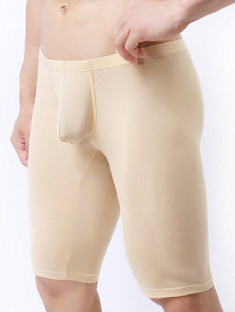 Ultrathin U Convex Pouch Breathable Cropped Pants - BEIGE M