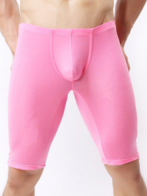 Ultrathin U Convex Pouch Breathable Cropped Pants - ROSE RED S