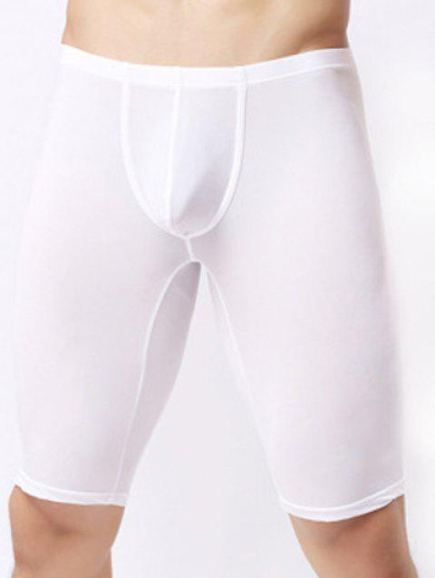 Ultrathin U Convex Pouch Breathable Cropped Pants - WHITE S
