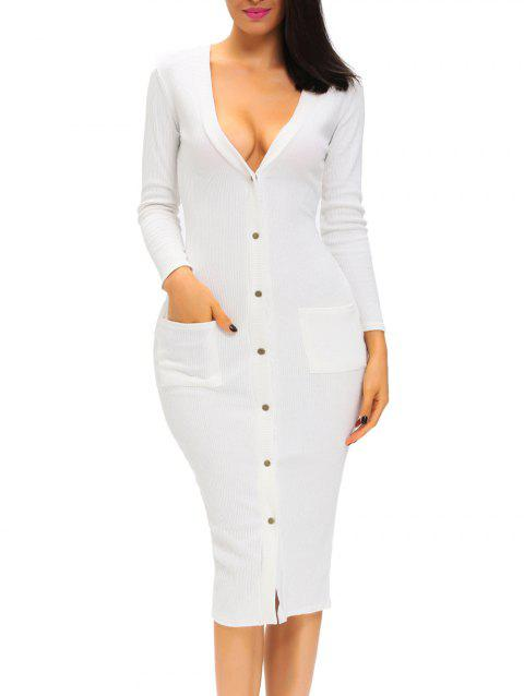 Plunge Button Up Long Sleeve Fitted Midi Bodycon Dress - WHITE M