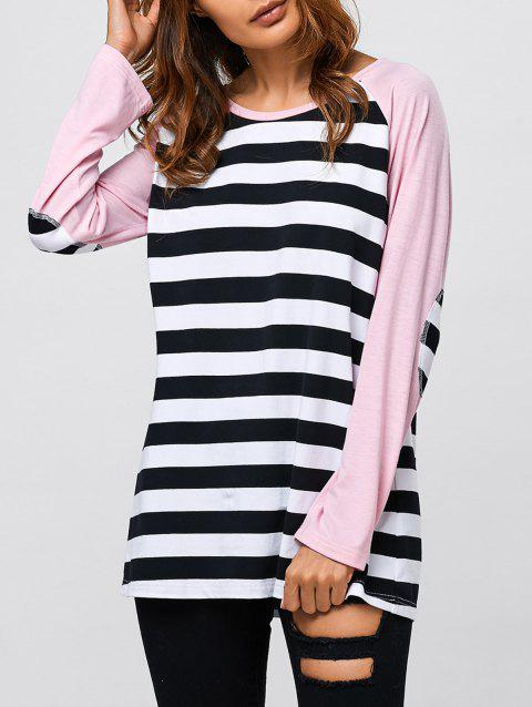 Striped Trim Elbow Sleeve T-Shirt - STRIPE L