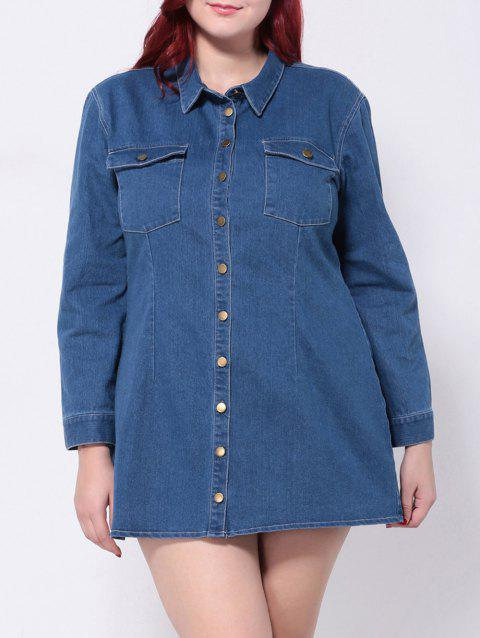 ed678781d48 17% OFF  2019 Plus Size Denim Long Sleeve Button Down Shirt Dress In ...