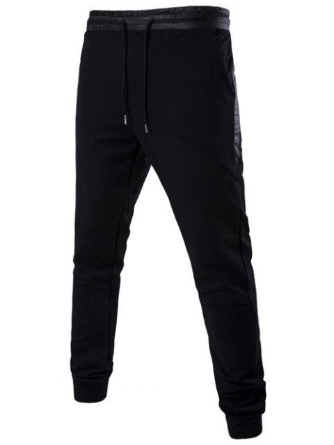 Drawstring Mid Rise Paneled Jogger Pants - BLACK 3XL