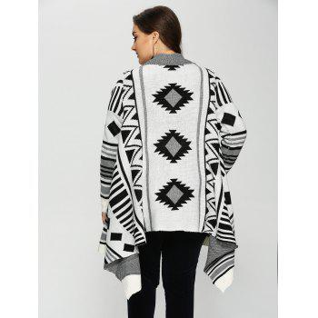 Plus Size Geometric Pattern Irregular Cardigan - XL XL
