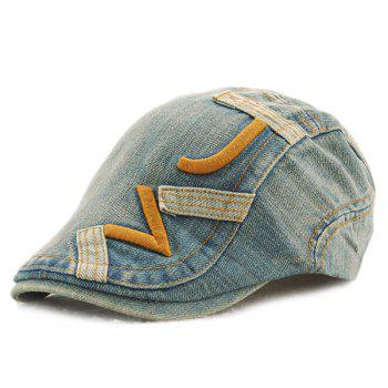 Stylish Letter Shape Embroidery Do Old Denim Fabric Cabbie Hat