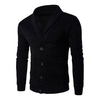Long Sleeve Button Up Shawl Collar Cardigan