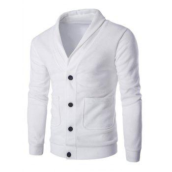 Buy Long Sleeve Button Shawl Collar Cardigan WHITE