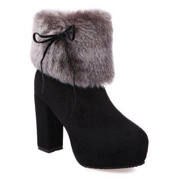 Chunky Heel Platform Suede Furry Ankle Boots